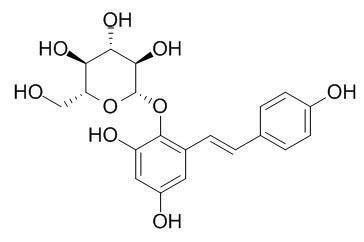 Chemical structure of 2,3,5,4'-Tetrahydroxyl diphenylethylene-2-O-glucoside