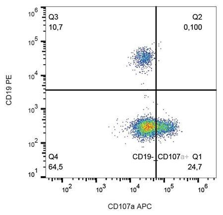 Flow cytometric analysis of human peripheral blood cells using CD107a antibody (APC)