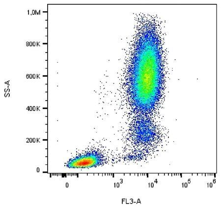 Flow cytometric analysis of human peripheral blood leukocytes using CD13 antibody (PE/DyLigh 594)