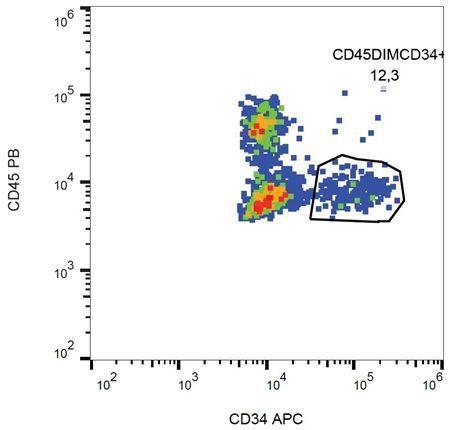 Flow cytometric analysis of human peripheral blood using CD34 antibody (APC)