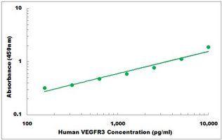 Representative Standard Curve of Human VEGFR3 ELISA Kit