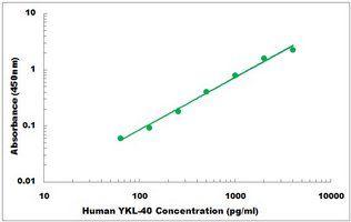 Representative Standard Curve of Human YKL-40 ELISA Kit