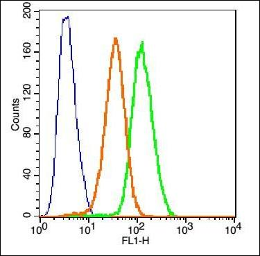 Flow cytometric analysis of Hep G2 Cells using TNFR1 antibody.